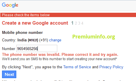 How to create gmail account with mobile number