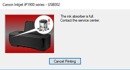 the ink absorber is full canon