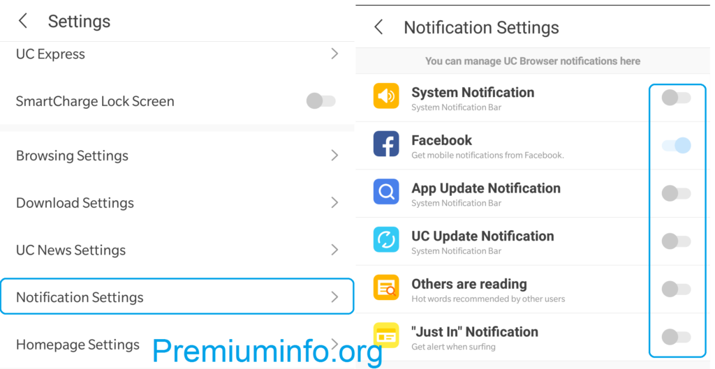 Disable uc browser notifications