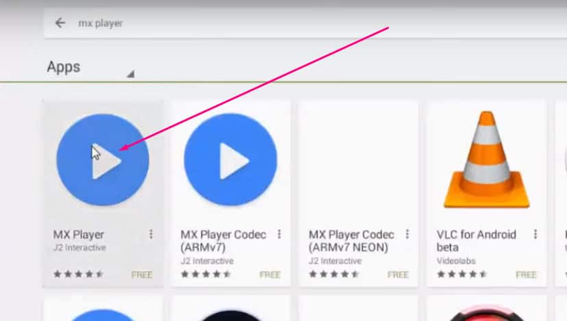 search for mx player in playstore