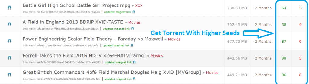Torrent file with higher seed and leeches