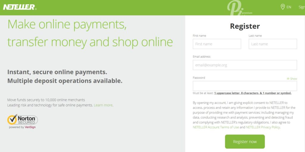 Neteller Registration form
