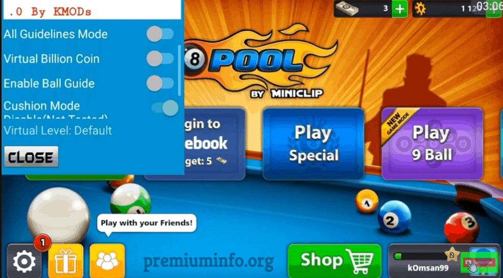 8 ball pool virtual menu