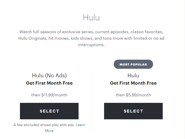 hulu plans and pricings