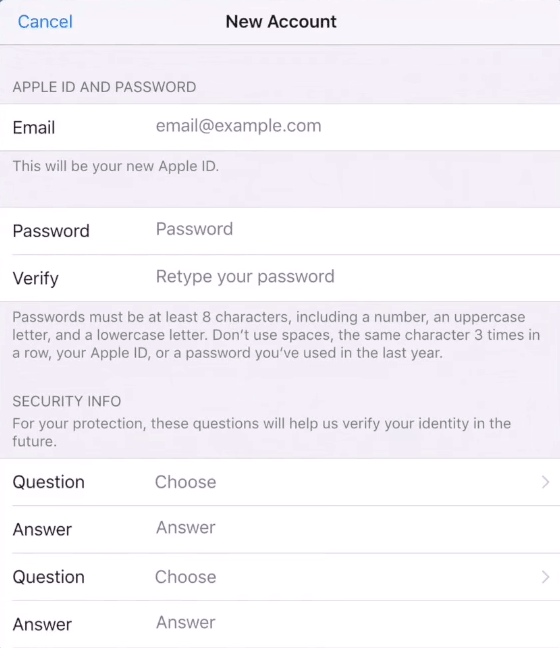 create new apple account
