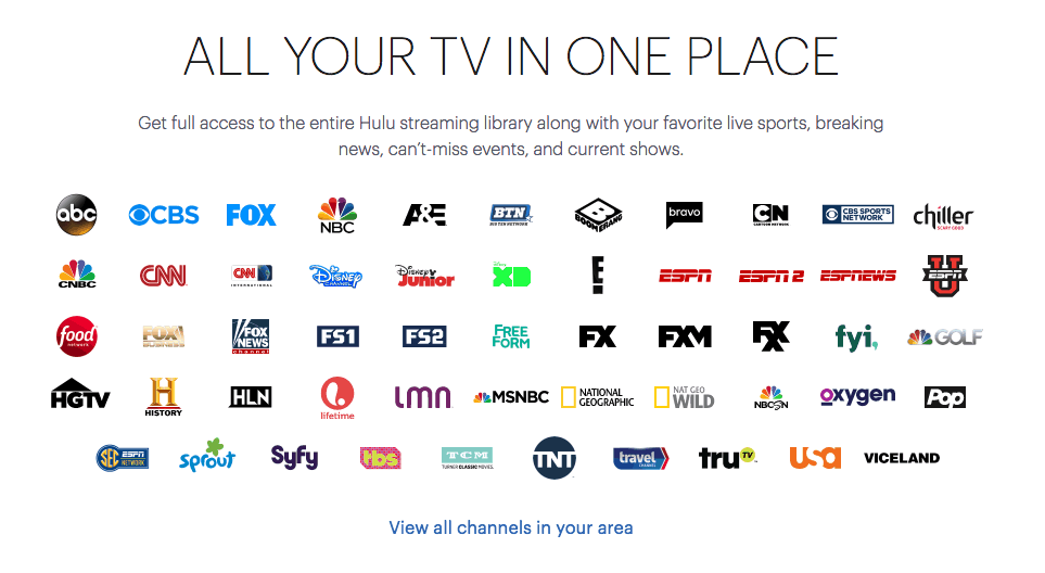 list of live hulu tv channels