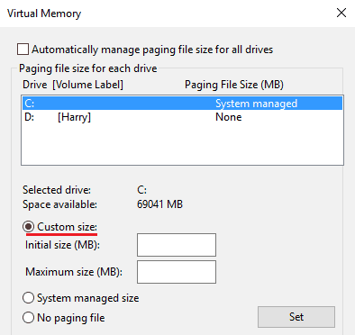 Custom size in virtual memory