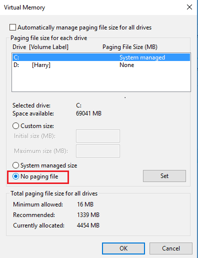 No paging file in virtual memory