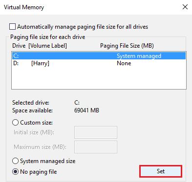 set virtual memory