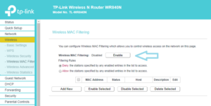 Enable wireless mac filter