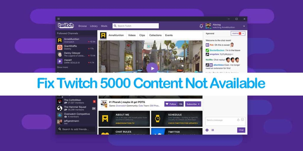 Fix Twitch 5000 Content Not Available