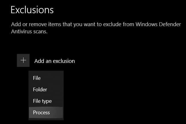 windows exclusions