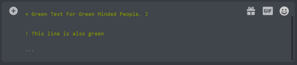 Add Green text in discord