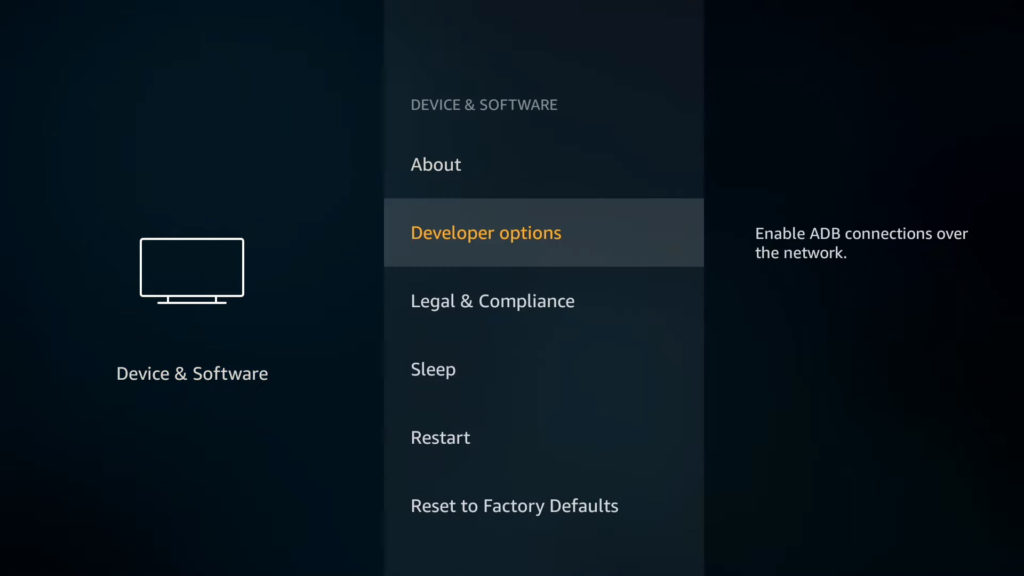 firestick developer option