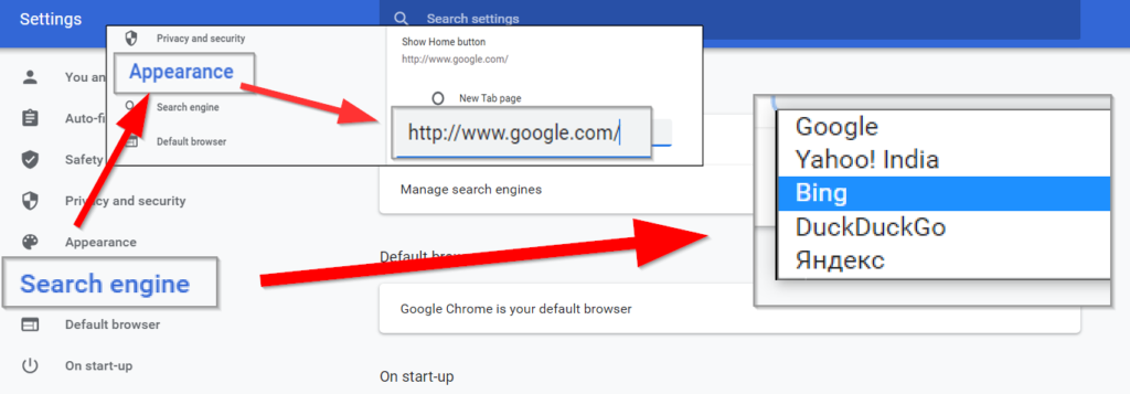Change default search engine to remove Yahoo search from Mac, Chrome, and Firefox