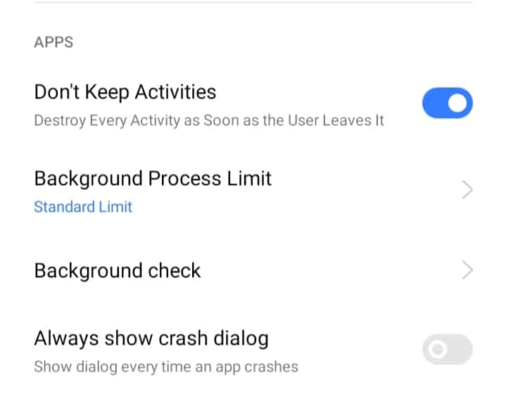Disable Background Activities